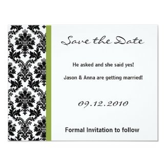 4x5 Save the Date Card - Black Damask & Green Personalized Invitation