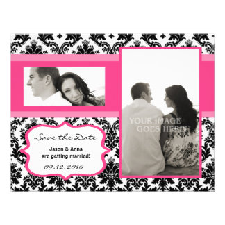 4x5 Save the Date Card - Black Damask & Hot Pink Custom Invites