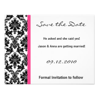 4x5 Save the Date Card - Black Damask & Hot Pink Personalized Invitations