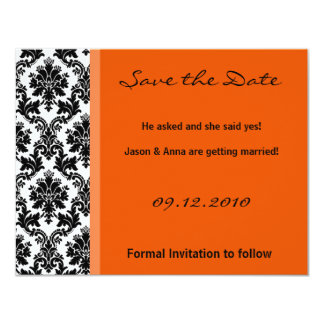 4x5 Save the Date Card - Black Damask & Orange Personalized Announcement