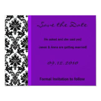 4x5 Save the Date Card - Black Damask & Purple 11 Cm X 14 Cm Invitation Card