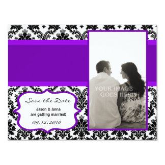 4x5 Save the Date Card - Black Damask & Purple Personalized Announcement