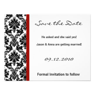4x5 Save the Date Card - Black Damask & Red Crimso Announcements
