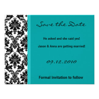 4x5 Save the Date Card - Black Damask Teal Turqu Personalized Announcement