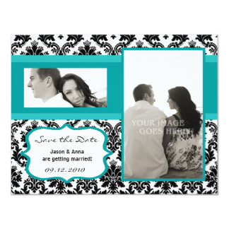 4x5 Save the Date Card - Black Damask & Teal Turqu Invitations