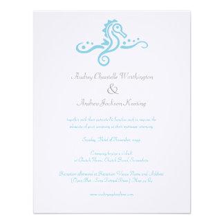 4x5 Wedding Aqua Turquoise Seahorse Beach Invite