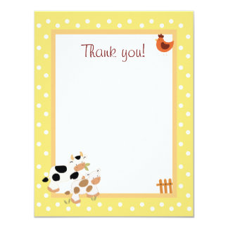4x5 Yellow Farm Baby Moo Cow Matte Flat Thank you 11 Cm X 14 Cm Invitation Card