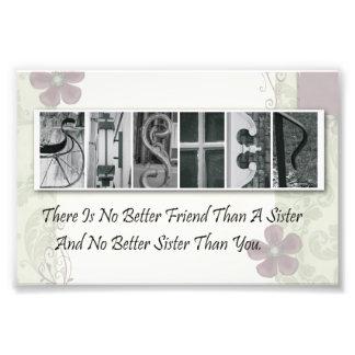 4x6 Alphabet Photo Letter Sister Frameable Print