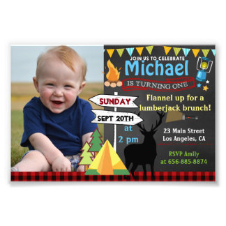 4x6 Camping First birthday photo invitation deer