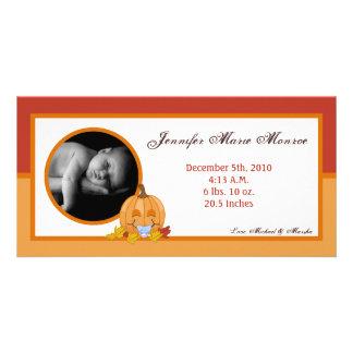 4x8 Autumn Fall Pumpkin Photo Birth Announcement Photo Greeting Card