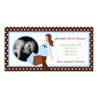 4x8 Blue Mod Mom Polka Photo Birth Announcement Picture Card