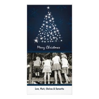 4x8 Blue Snowflake XMAS Tree PHOTO Christmas Card Customized Photo Card