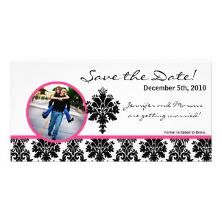 4x8 Engagement Announcement Black Hot Pink Damask Picture Card