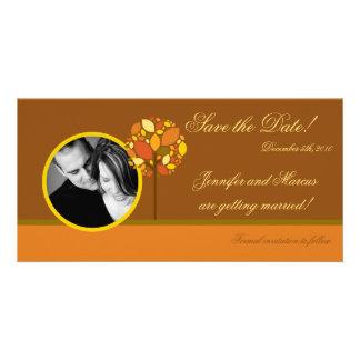 4x8 Engagement Announcement Modern Autumn Tree Customized Photo Card