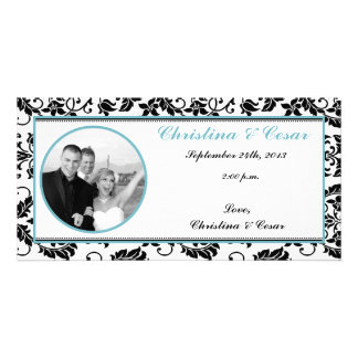 4x8 Engagement Photo Announcement Black Damask Bab Customized Photo Card