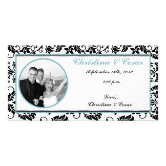 4x8 Engagement Photo Announcement Black Damask Bab Customized Photo Card
