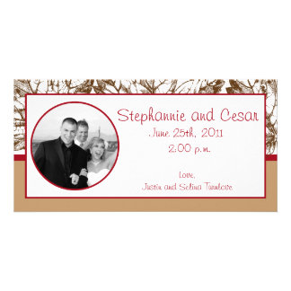 4x8 Engagement Photo Announcement Brown Leaves Photo Greeting Card