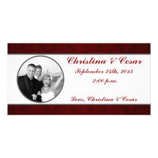 4x8 Engagement Photo Announcement Dark Maroon Gray Photo Cards