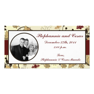 4x8 Engagement Photo Announcement Fall Floral Photo Greeting Card