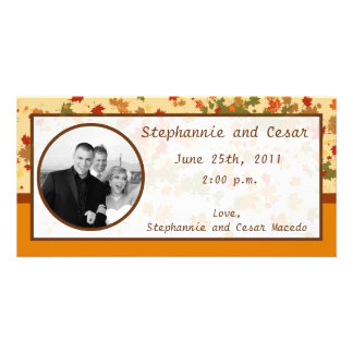 4x8 Engagement Photo Announcement Foliage Branch Photo Card Template