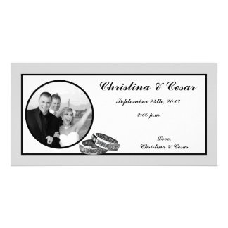 4x8 Engagement Photo Announcement His/Hers Diamond Photo Greeting Card