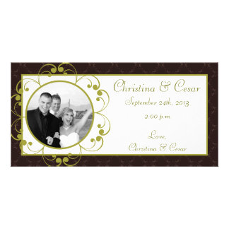 4x8 Engagement Photo Announcement Light/Olive Gree Customized Photo Card