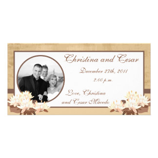 4x8 Engagement Photo Announcement Oriental Flowers Photo Greeting Card
