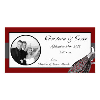 4x8 Engagement Photo Announcement Peacock Red Blac Photo Cards