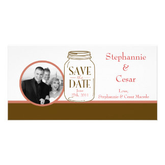 4x8 Engagement Photo Announcement Pink/Brown Mason Photo Card Template