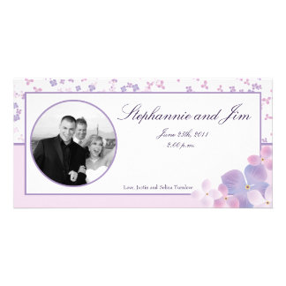 4x8 Engagement Photo Announcement Purple Hydrangea Picture Card
