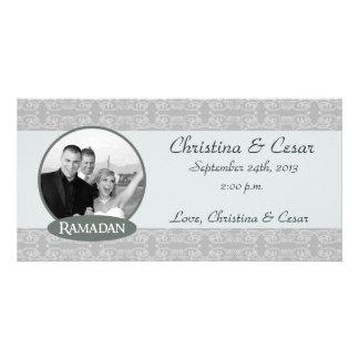 4x8 Engagement Photo Announcement Soft Blue Islami Photo Greeting Card