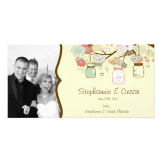 4x8 Engagement Photo Announcement Spring Floral Photo Greeting Card
