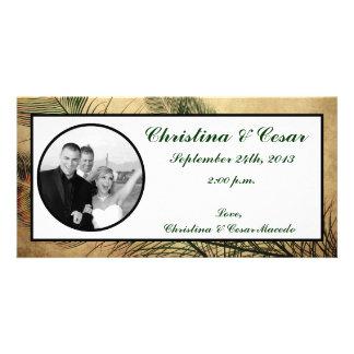 4x8 Engagement Photo Announcement Vintage Peacock Personalized Photo Card