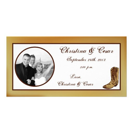 4x8 Engagement Photo Announcement Western Cowgirl Photo Card