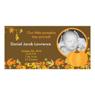 4x8 Fall Pumpkin Leaves PHOTO Birth Announcement Card