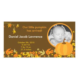 4x8 Fall Pumpkin Leaves PHOTO Birth Announcement Photo Greeting Card