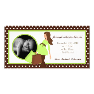 4x8 Green Mod Mom Polka Photo Birth Announcement Personalized Photo Card