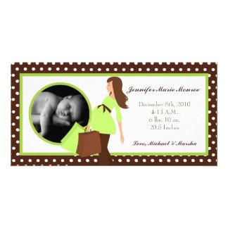 4x8 Green Mod Mom Polka Photo Birth Announcement Personalized Photo Card
