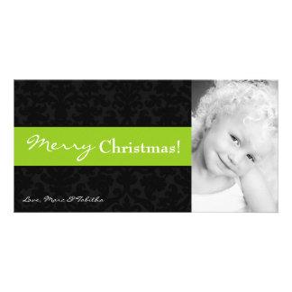 4x8 Lime Black Damask Frame PHOTO Christmas Card Customised Photo Card