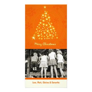 4x8 Orang Snowflake XMAS Tree PHOTO Christmas Card Personalized Photo Card