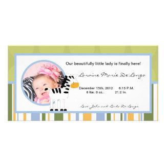 4x8 Photo Birth Announcement Safari Friends Zebra Customised Photo Card