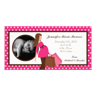 4x8 Pink Mod Mom Polka Photo Birth Announcement Custom Photo Card