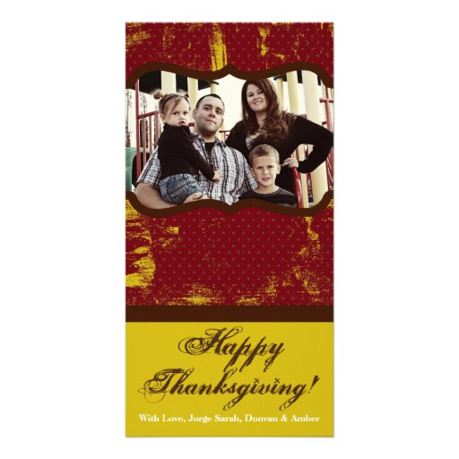 4x8 Red and Yellow Grunge Thanksgiving PHOTO Card