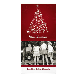 4x8 Red Snowflake XMAS Tree PHOTO Christmas Card Custom Photo Card