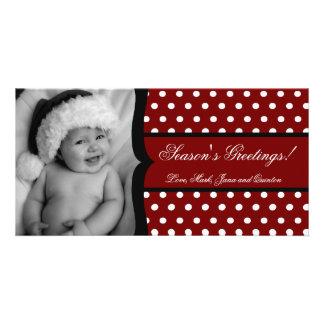 4x8 Red White Polka Dot Frame PHOTO Christmas Card Customized Photo Card