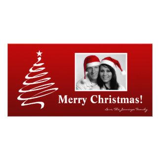 4x8 Red White XMAS Tree PHOTO Christmas Card