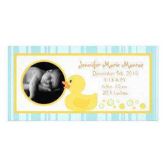 4x8 Rubber Ducky Bubbles Birth Announcement Picture Card