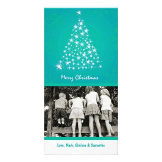4x8 Teal Snowflake XMAS Tree PHOTO Christmas Card Photo Cards