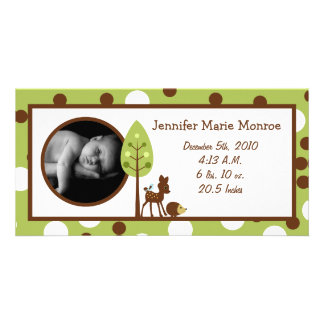 4x8 Woodland Friends Birth Announcement Photo Card Template