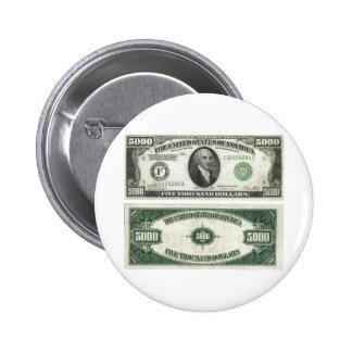$5000 Bill 6 Cm Round Badge